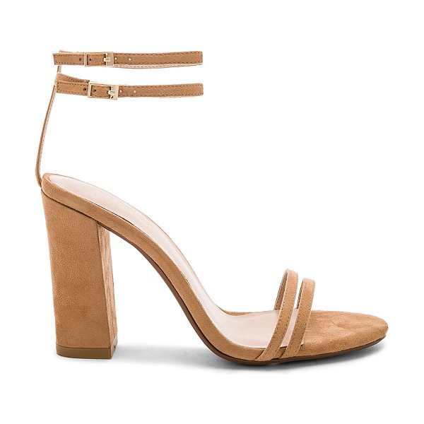 """RAYE Coco Heel in tan - """"Textile upper with man made sole. Ankle straps with..."""