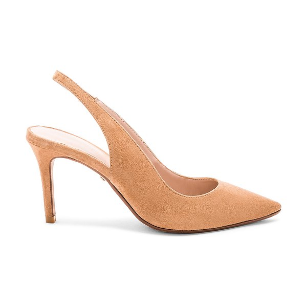 "RAYE Coda Heel in tan - ""Textile upper with man made sole. Elasticized slingback..."