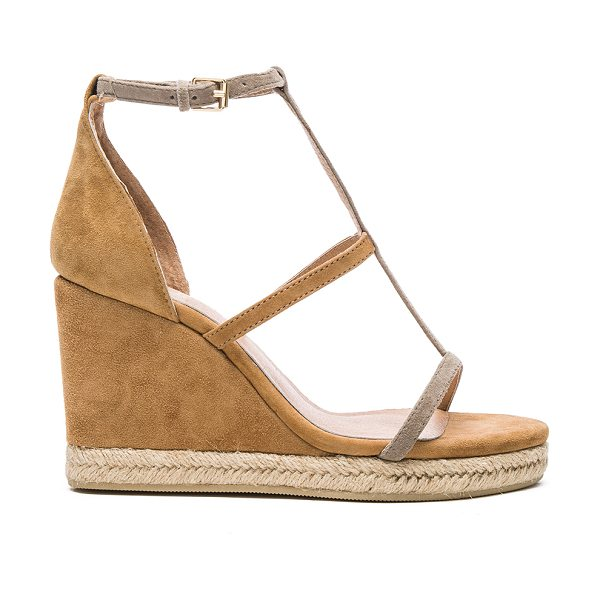 RAYE Dillon Wedge in tan - Suede upper with man made sole. Ankle strap with buckle...