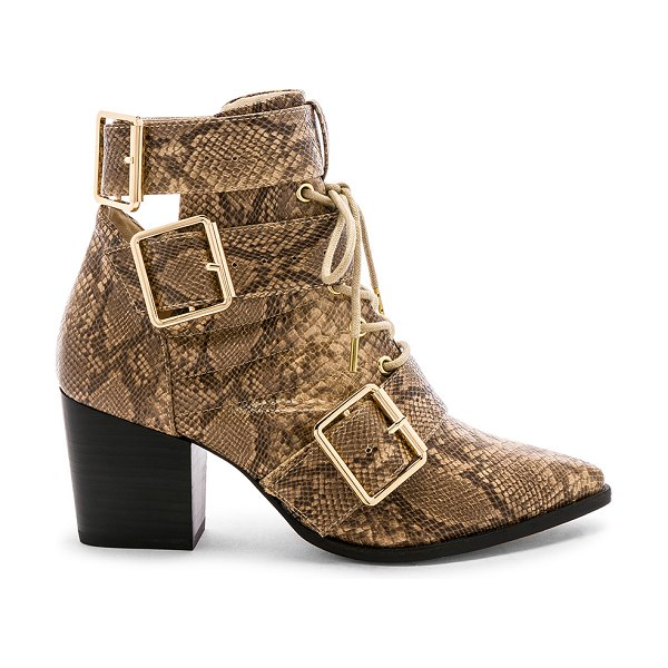 """RAYE Dree Bootie in taupe - """"Snakeskin embossed man made upper with leather sole...."""