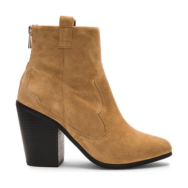 RAYE Ella Bootie in tan - Suede upper with rubber sole. Back zip closure. Stitched...