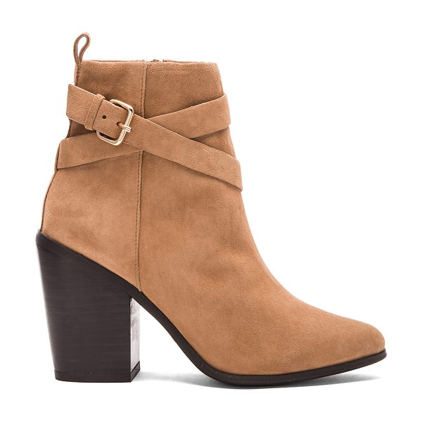RAYE Erin bootie in tan - Suede upper with man made sole. Buckle accent. Side zip...