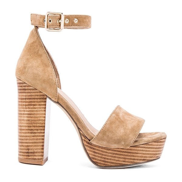 RAYE Hannah platform in tan - Suede upper with man made sole. Ankle strap with buckle...