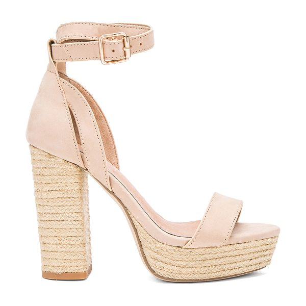 RAYE Helene Heel in beige - Leather upper with man made sole. Wrap ankle with buckle...