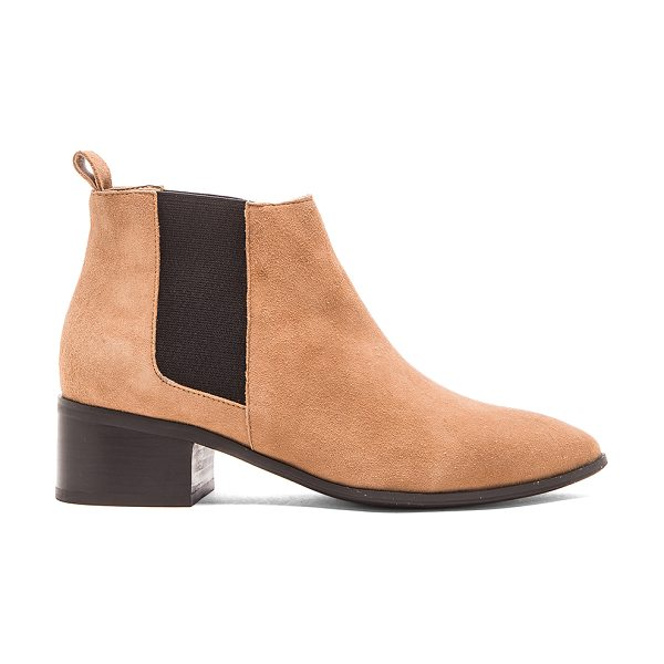 RAYE Kat bootie in tan - Suede upper with man made sole. Elastic side panels....