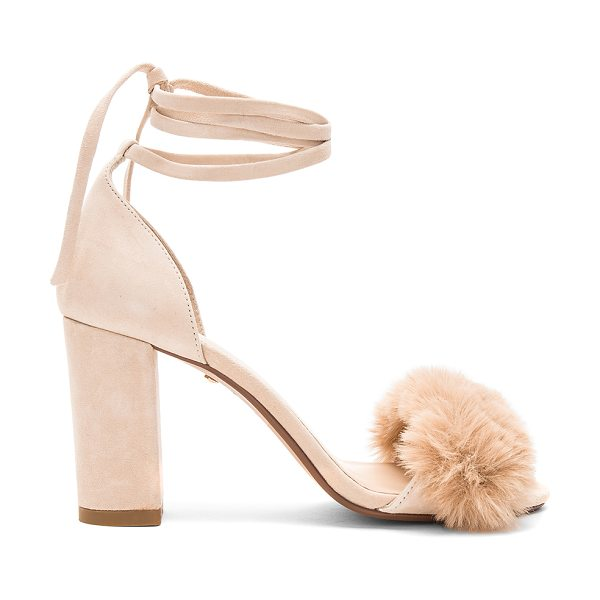 "RAYE Lacey Faux Fur Heel in beige - ""Suede upper with man made sole. Wrap ankle with tie..."