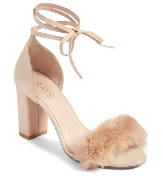 RAYE lacey faux fur sandal in sable fur - Make a fashion-forward statement in block-heel sandals...