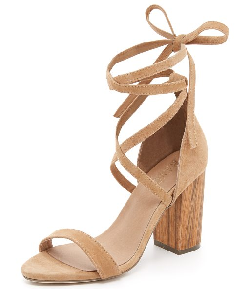 RAYE Layla lace up sandals in tan - A chunky wooden heel lends a natural appeal to these...