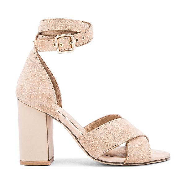 RAYE Lily Heel in tan - Leather and suede upper with man made sole. Wrap around...