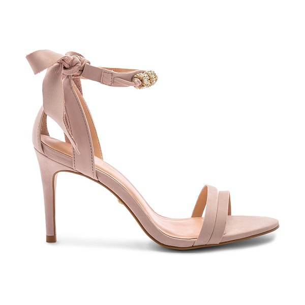 """RAYE Lumine Heel in blush - """"Suede upper with man made sole. Wrap ankle with tie..."""