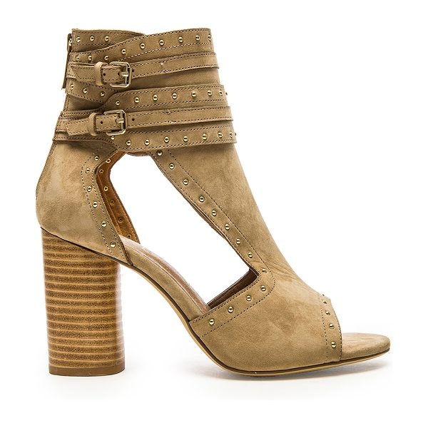 RAYE Matty Heel in tan - Suede upper with man made sole. Heel measures approx 3.5...
