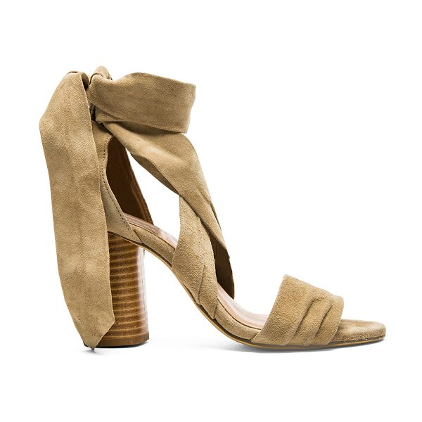"RAYE Mia Heel in tan - ""Suede upper with man made sole. Wrap tie closure. Heel..."