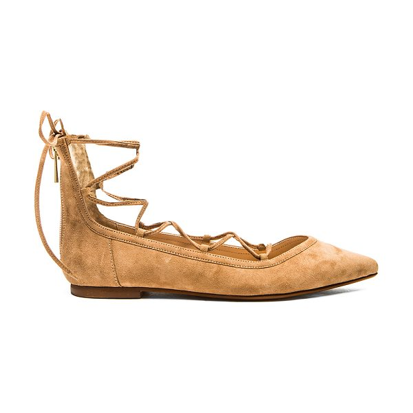 RAYE Pippa flat in beige - Suede upper with man made sole. Lace-up front. Back zip...