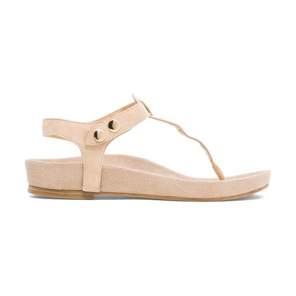 RAYE Roxy sandal in beige - Suede upper with man made sole. Grommet accent. Button...