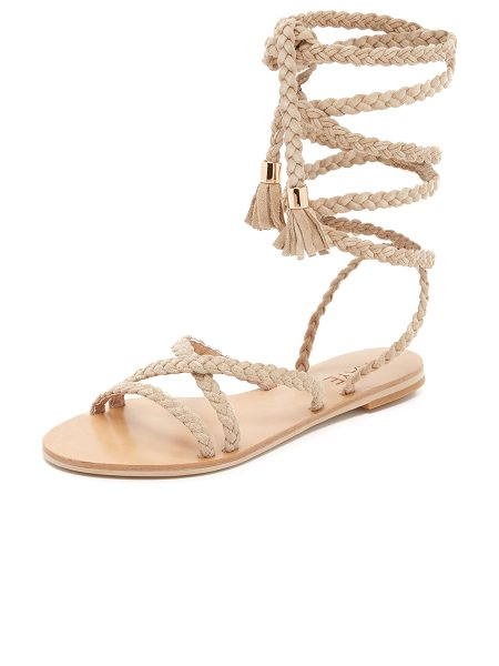 RAYE Sadie gladiator sandals in nude - Braided straps crisscross these smooth suede Raye...