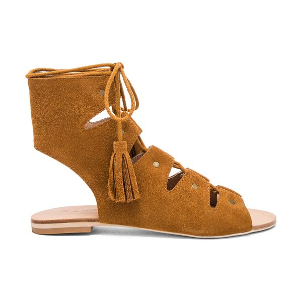RAYE Sydney Sandal in cognac - Suede upper with man made sole. Lace-up front with...