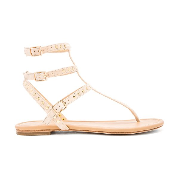 RAYE Sylvie sandal in beige - Studded suede upper with leather sole. Multi buckle...