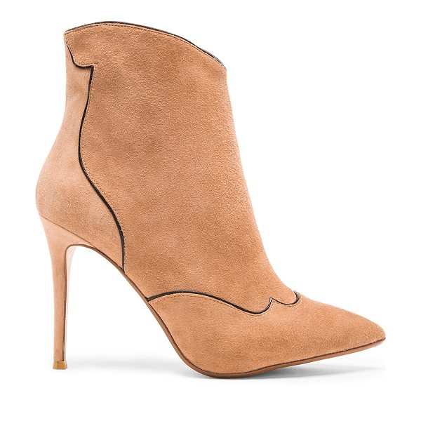 RAYE Talen bootie in tan - Suede upper with man made sole. Contrast color trim....
