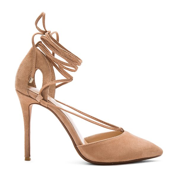 RAYE Tamrin Pump in tan - Suede upper with man made sole. Lace-up front with wrap...
