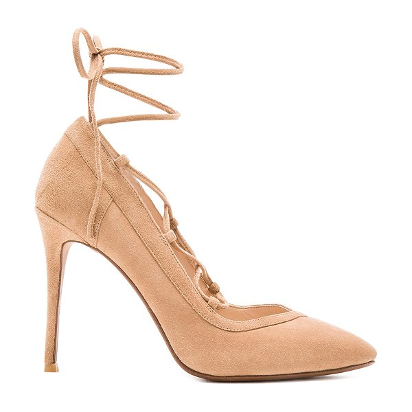 RAYE Taylor Pump in beige - Suede upper with man made sole. Lace-up front. Heel...