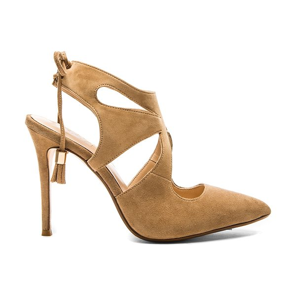 RAYE Tellie pump in tan - Suede upper with man made sole. Cut-out detail. Lace-up...
