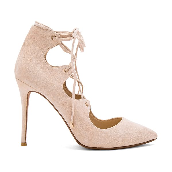 RAYE Tessa Pump in beige - Suede upper with man made sole. Lace-up front with wrap...