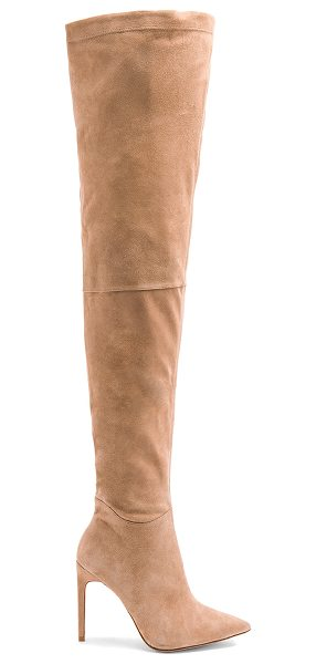 "RAYE Thatcher Boot in nude - ""Suede upper with leather sole. Side zip closure. Heel..."