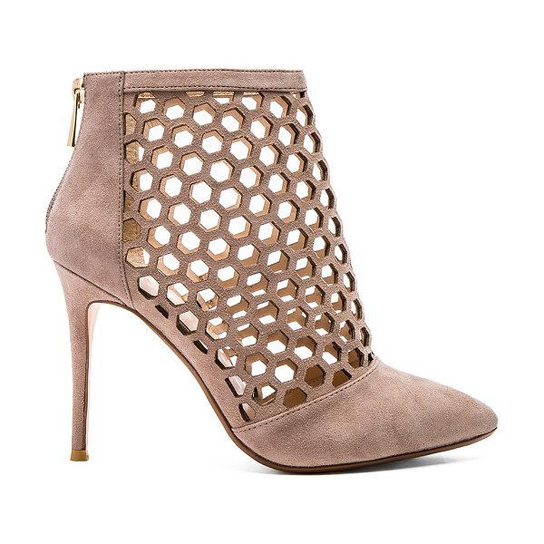 RAYE Tobi pump in taupe - Suede upper with man made sole. Honeycomb laser cut-out...