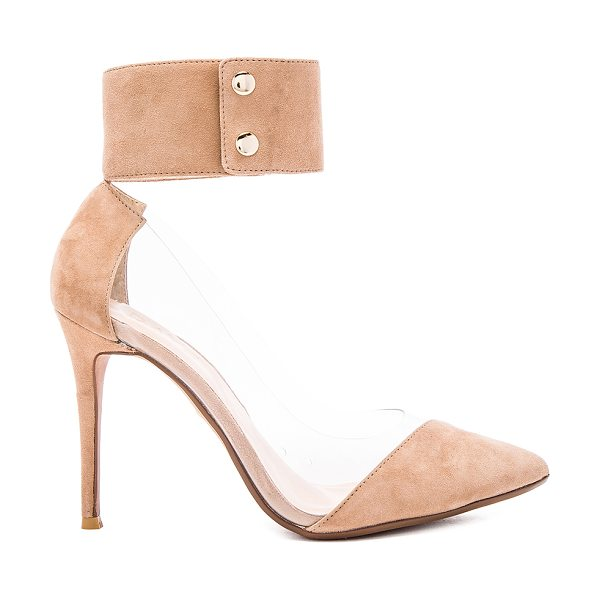 RAYE Tory pump in tan - Suede and vinyl upper with man made sole. Ankle strap...