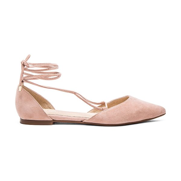 RAYE X for love & lemons paloma flat in blush - Suede upper with man made sole. Lace-up front with wrap...
