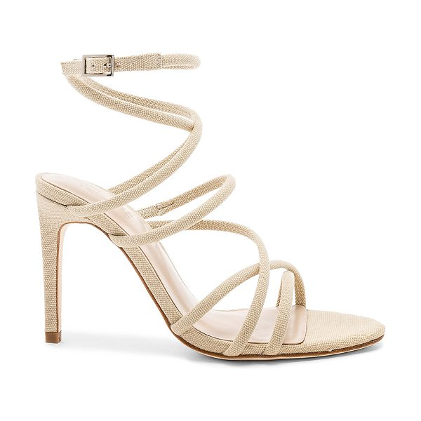 """RAYE x House Of Harlow 1960 Vigo Heel in beige - """"Textile upper with leather sole. Wrap ankle with buckle..."""