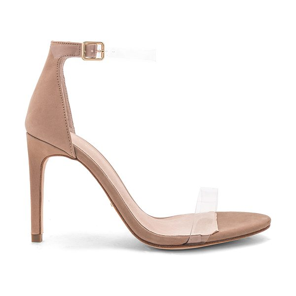"RAYE Jameson Heel in beige - ""Suede and clear vinyl upper with leather sole. Ankle..."