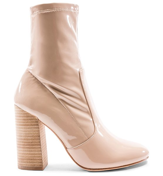 "RAYE x REVOLVE Rowan Bootie in beige - ""Patent and polished, RAYE's Rowan bootie speaks to this..."