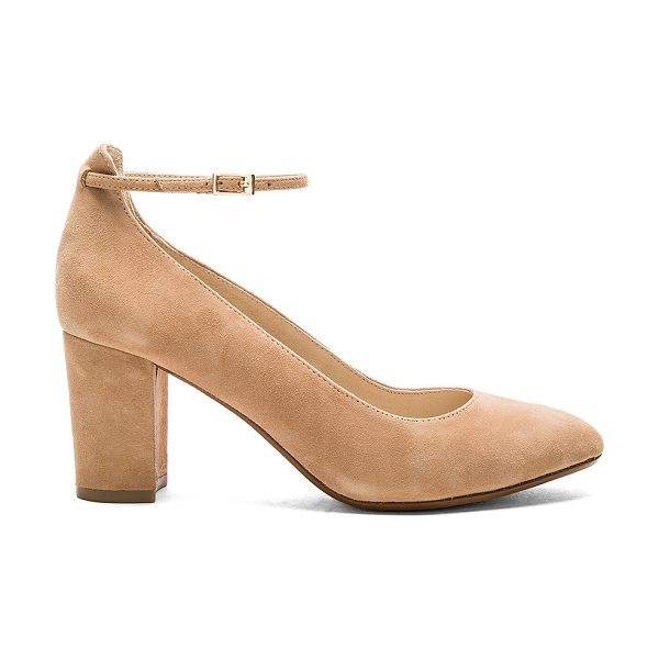 RAYE x Tularosa Ramona Pump in tan - Suede upper with man made sole. Ankle strap with buckle...