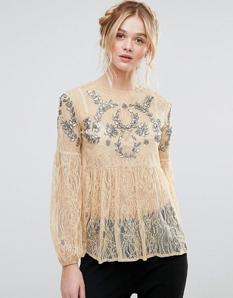 "RD & Koko Rd & Koko Bell Sleeve Smock Lace Top With Embellished Detail in cream - """"Top by RD Koko, Sheer lace, Crew neck, Sequin and bead..."