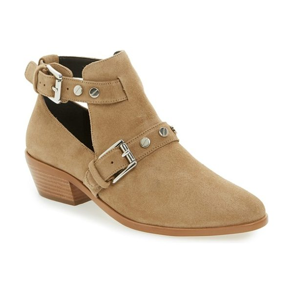 Rebecca Minkoff abigail bootie in taupe oiled suede - Western-inspired style meets urbane detailing on an...