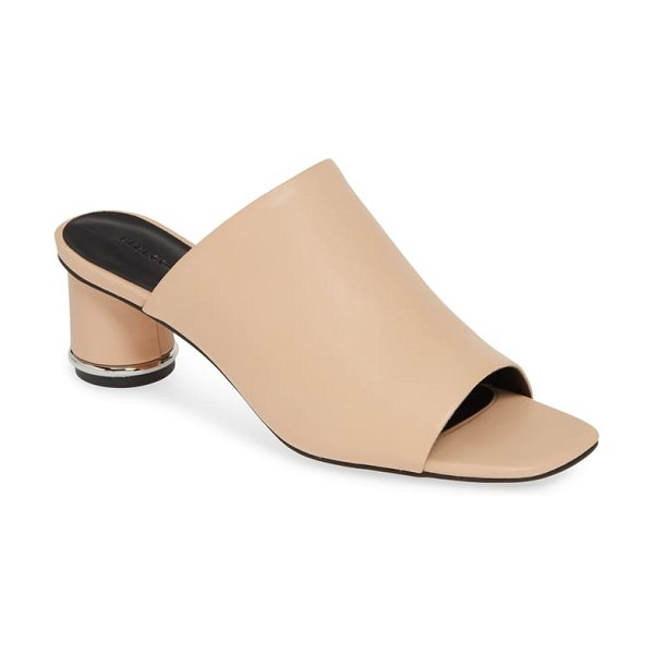 Rebecca Minkoff aceline slide sandal in brown - A chic cylindrical heel elevates this open-toe sandal,...