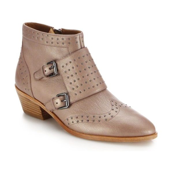 REBECCA MINKOFF Addison studded leather monk-strap booties - Petite studs trace an effortlessly cool ankle boot, set...