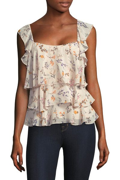 REBECCA MINKOFF alexis floral ruffle top in cream multi - Tiered ruffles accentuate delicate florals on chiffon...