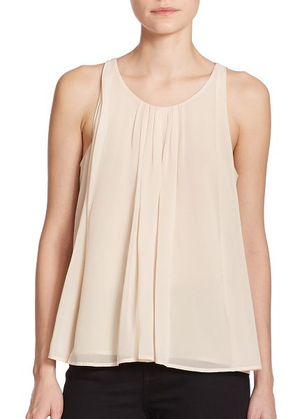 Rebecca Minkoff Alleen pleated silk tank top in sand - Pleats lend effortless movement to this silk tank in a...