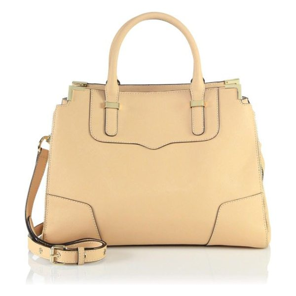 Rebecca Minkoff Amorous leather satchel in biscuit - A timeless design in luxurious saffiano leather accented...