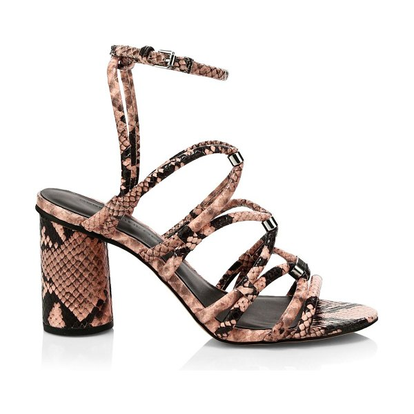 Rebecca Minkoff apolline suede snake-print strappy sandals in rosewood