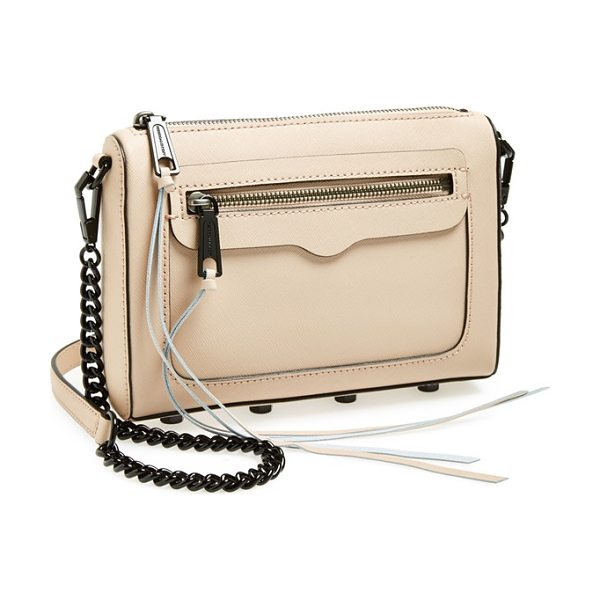 Rebecca Minkoff Avery crossbody bag in latte - A chic clutch shaped from impeccably textured Saffiano...