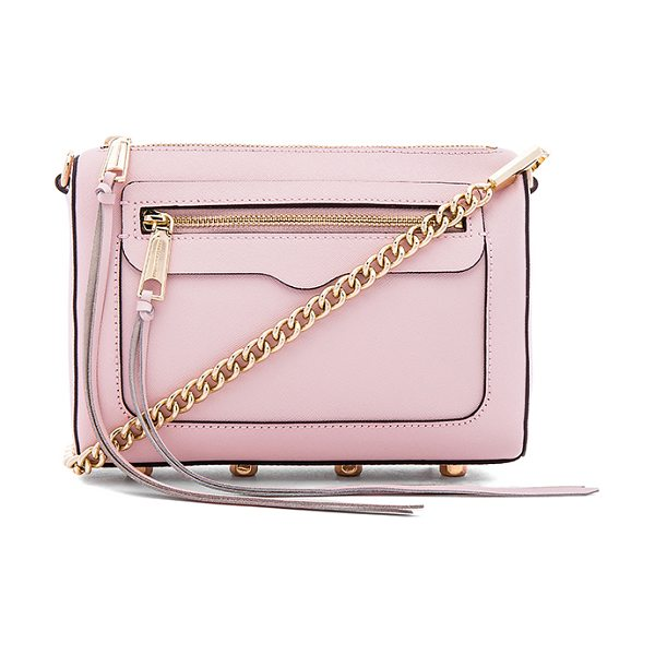 Rebecca Minkoff Avery crossbody in pink - Leather exterior with jacquard fabric lining. Zip top...