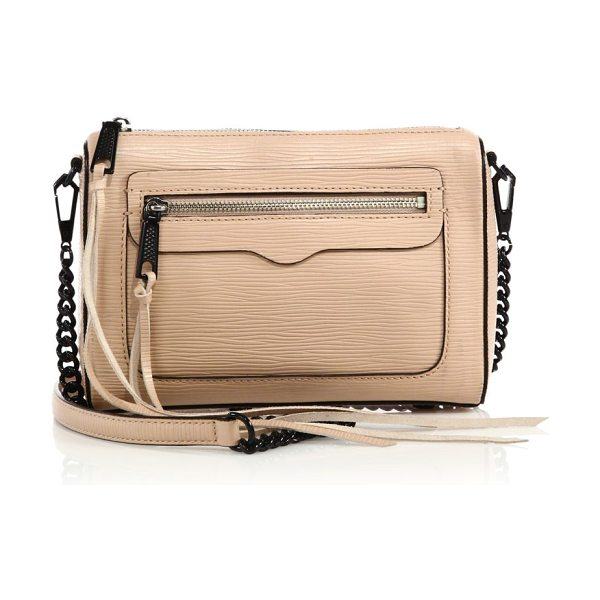 Rebecca Minkoff Avery embossed leather crossbody bag in latte - Compact day-to-night crossbody with embossed...