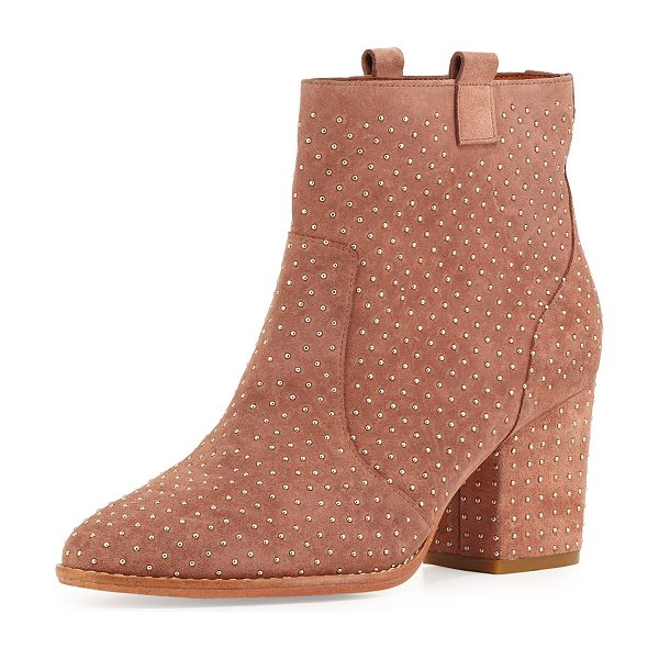 "Rebecca Minkoff Blake studded suede bootie in burnt sienna -  Rebecca Minkoff studded suede bootie. 3"" covered heel...."