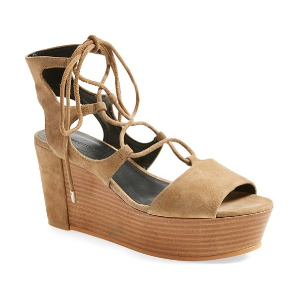 Rebecca Minkoff cady wedge sandal in taupe - Slender ghillie straps lace up the bold, retro...