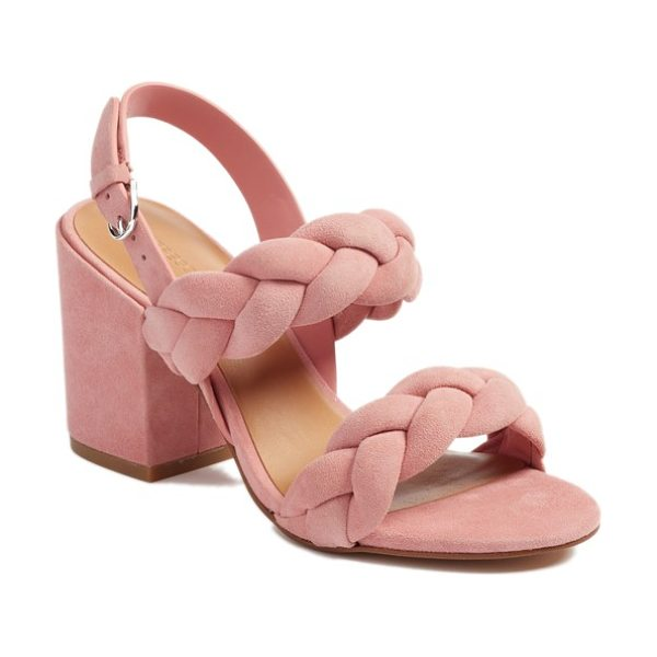 Rebecca Minkoff candance block heel sandal in pink suede - Braided straps and a bold block heel make this sandal a...