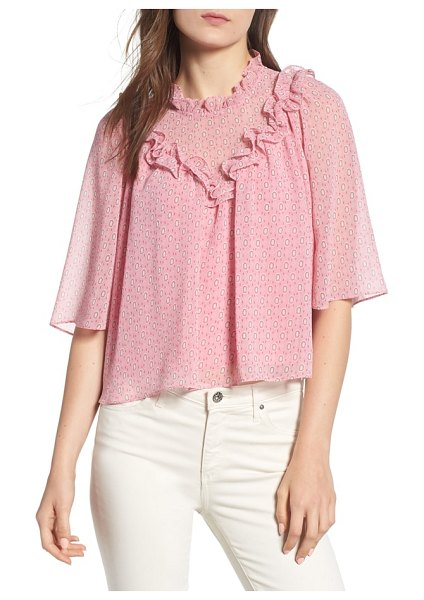 Rebecca Minkoff carla floral ruffle top in pink multi - Staying pretty is no sweat in this gauzy cotton printed...