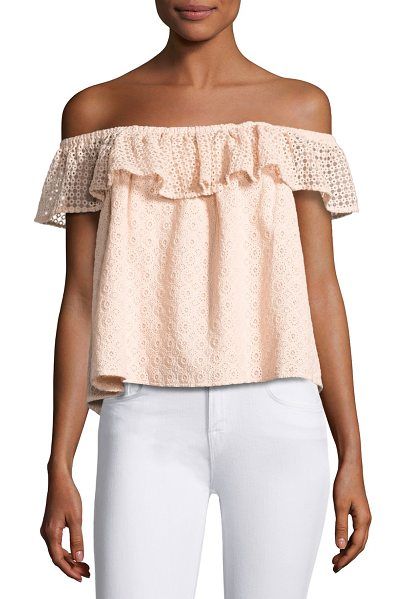 "Rebecca Minkoff Celestine Off-the-Shoulder Lace Top in pink - Rebecca Minkoff ""Celestine"" top with lace detail and..."
